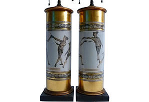 Pair of Fornasetti Style Gilt Decoupage Lamps.jpg
