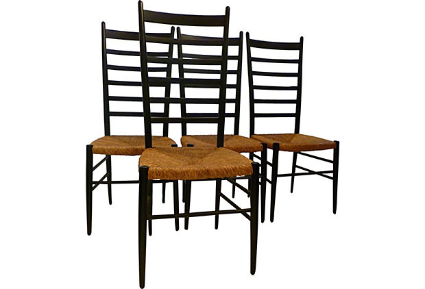 Gio Ponti Style Vintage Tall Ladder Back Chairs, Set of Four.jpg
